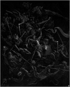 Gustave Dore Paradise Lost Chaos watches as the Rebel Angels are thrown into Hell