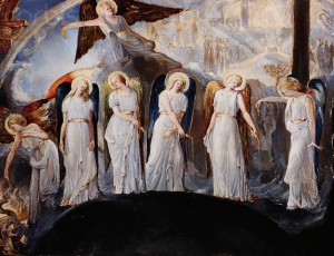 Seven Angels Pouring Vials of the Wrath of God upon the Earth by a British School Painter Influenced by William Blake