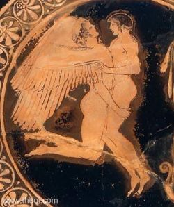 "Zephyrus, the progenitor of Eros along with Iris, is described by Alcaeus (VII-VI centuries BCE) as ""golden hair Zephyr"" (Hymn to Eros, fragment V, 327)."